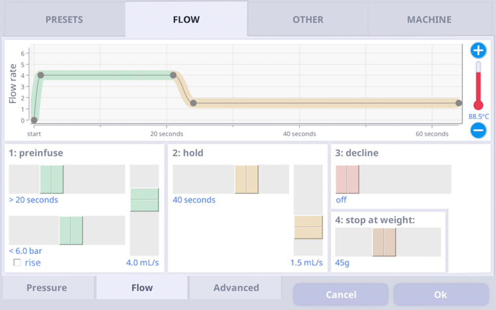 The flow mode recipe screen. It's simple and intuitive.