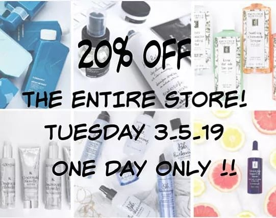 🔊🔊ITS THAT TOME AGAIN !  Mark your calendars 3.5.19 to enjoy 20% off all product in our salon ! This is a ONE DAY ONLY deal! See you there ! 🙃😊