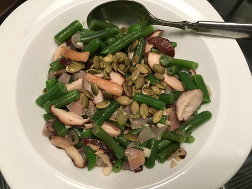 Here are my Green Beans with Shitakes, Shallots and Pumpkin Seeds!