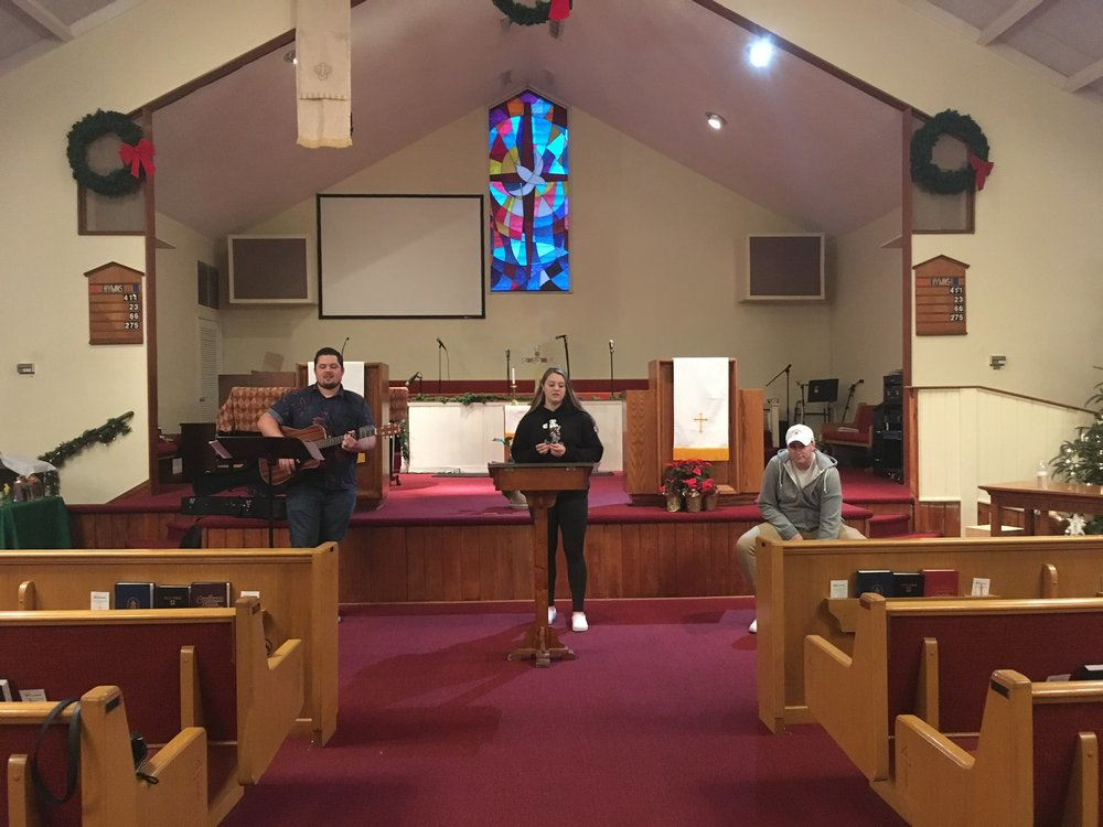 The worship team practicing before service.