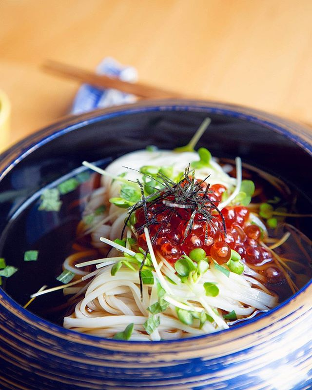 Bouncy Inaniwa udon topped with salmon roe bursting with natural sweetness and umami 😋 . . . . . . #shuraku #udon #ikura #roe #umami #japanesefood #eeeeeats #nyceats #forkyeah #eaterny #treatyoself #insiderfood #infatuation #michelinguide #yummy #foodgasm #foodie #izakaya #omakase