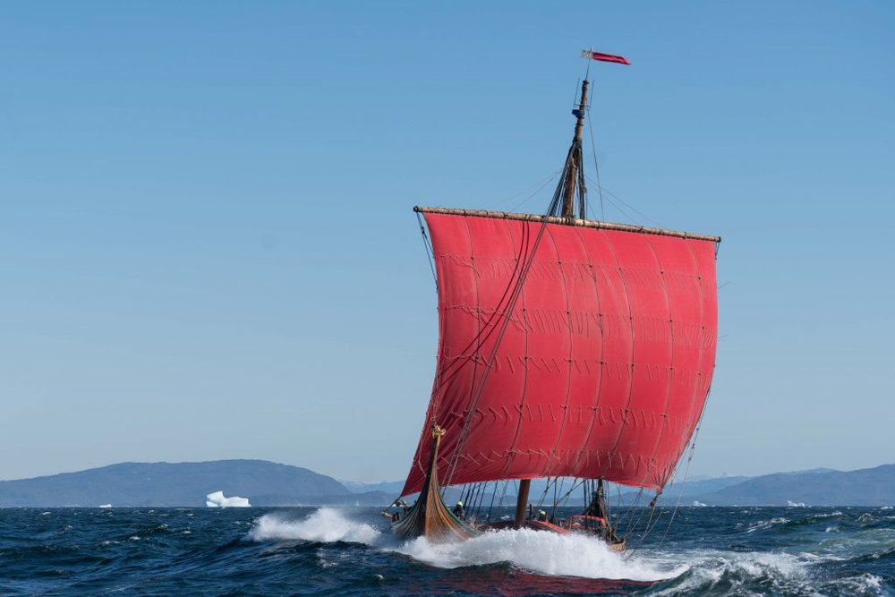 The Norwegian Viking ship Draken Harald Hårfagre sailing outside Greenland.