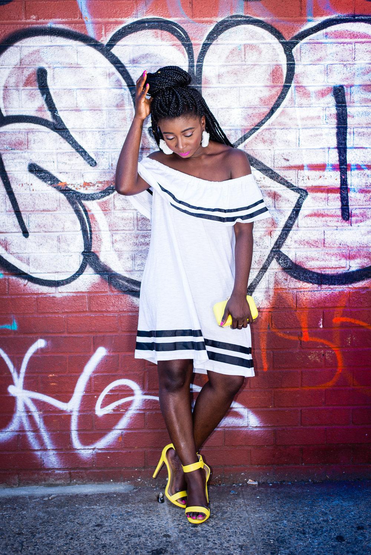 Street-Style-Off-The-Shoulder-Dress