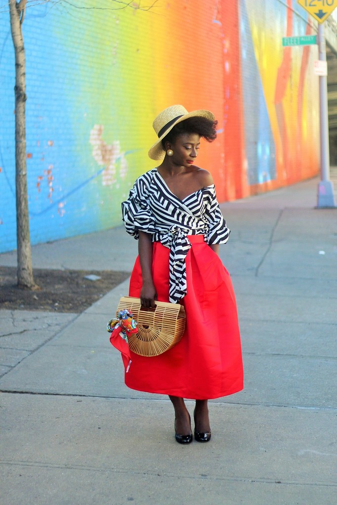 Stripe-Shirt-And-Full-Skirt--Outfit-Ideas