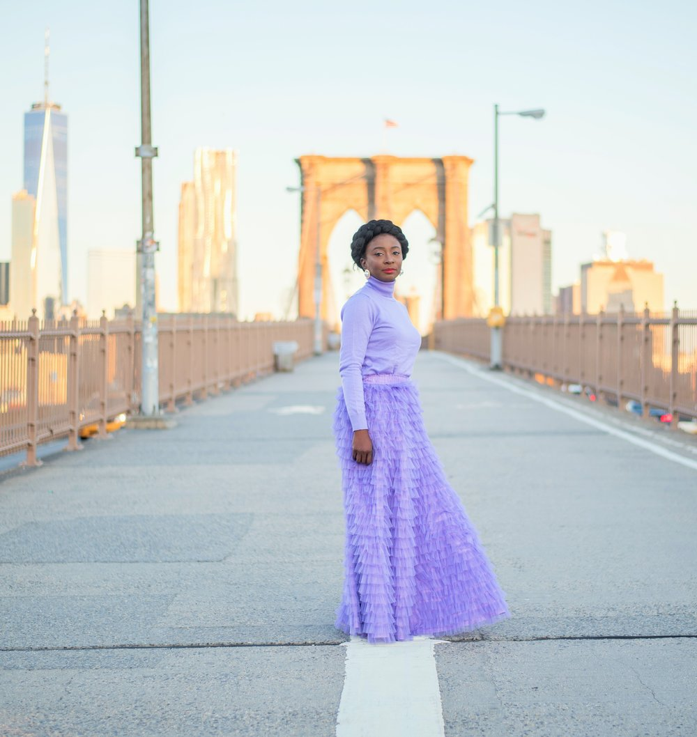 :Lilac Tulle Skirt: -