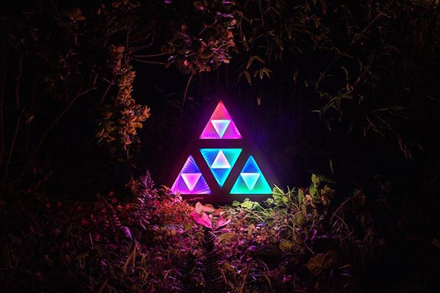 When you cross the surreal in the dark of the night... ✨👁 Transdimensia is available for sale in our shop. DM for custom work! #bayarea #sfart #installationart #artist #lightart #RGBLEDs #lightinnature #surreal #triforce #rainbowlight