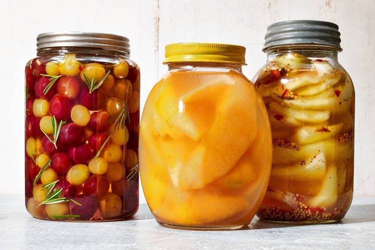 From left: Pickled grapes, pickled cantaloupe, pickled watermelon rind. Ted Cavanaugh for the Wall Street Journal.