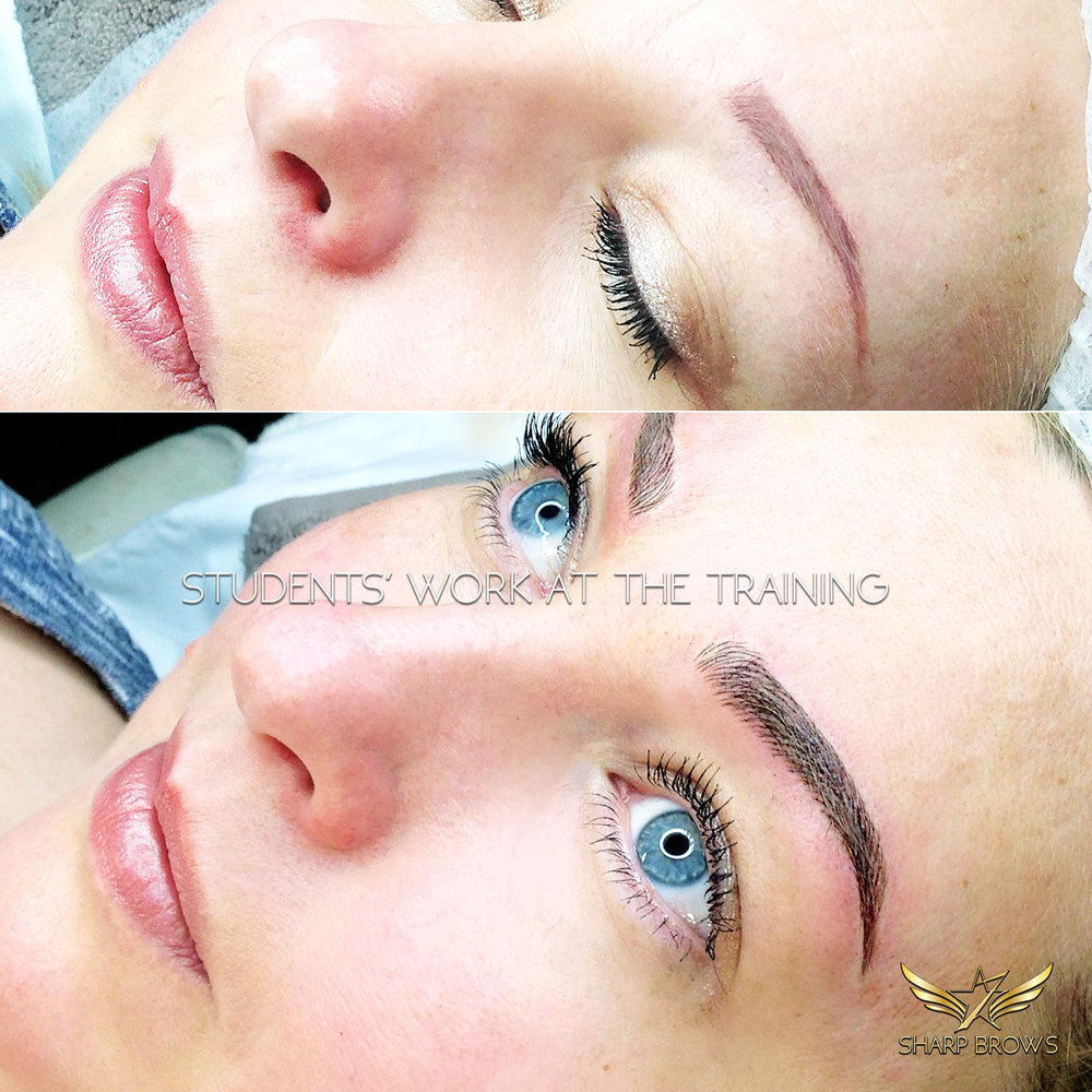 SharpBrows Light microblading. Students' work at the training. A challenging pigmentation fixed with Light microblading by a student at a SharpBrows Light microblading class.