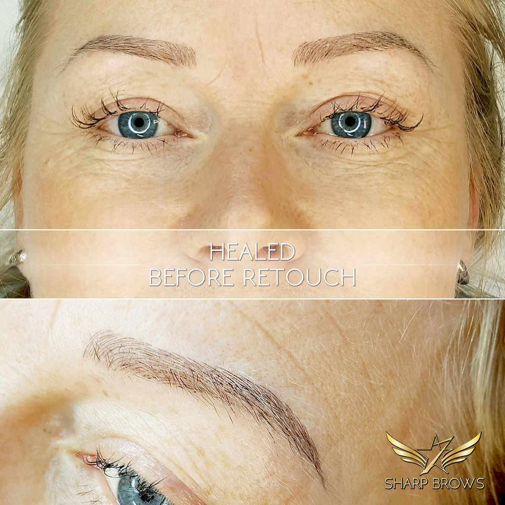 SharpBrows Light microblading. Many have asked what does Light microblading look like when it heals. Here is a concrete example of the healing process, taken before the retouch. Lines are a little bit lighter, still sharp and thin, the pattern has not spread at all and most importantly - brows look very natural!