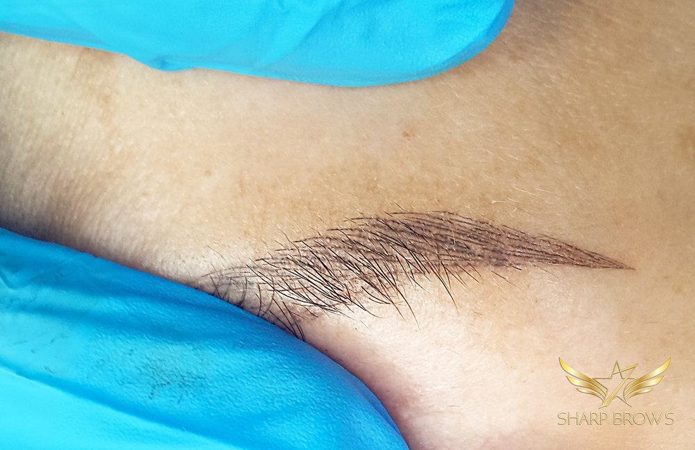 SharpBrows microblading - Closeup of a healed brow made with SharpBrows Light microblading.