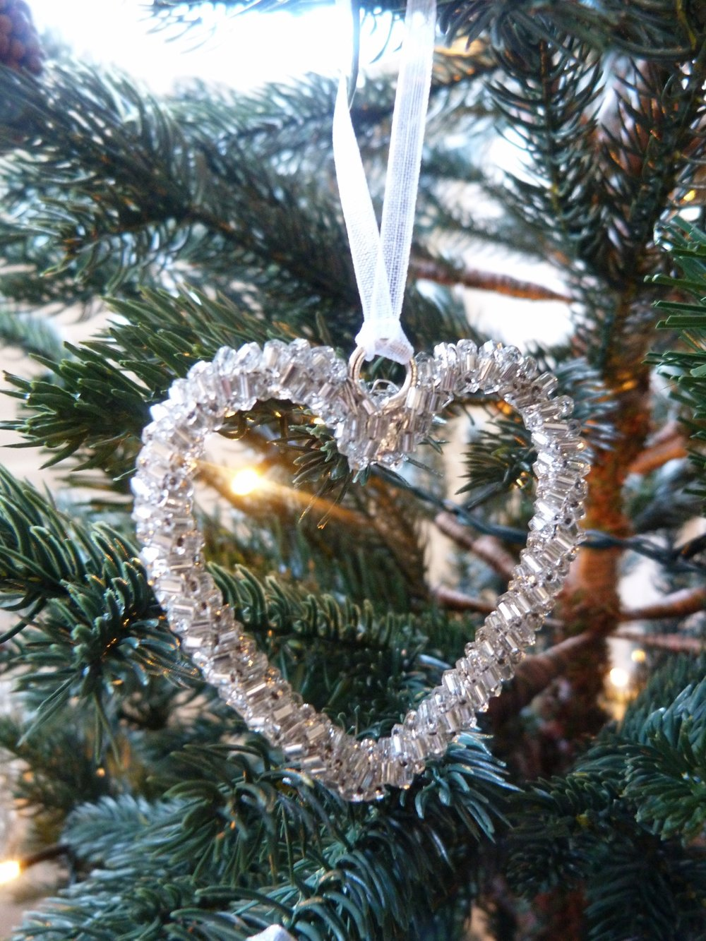 Mini Beaded Heart Tree Decorations - Set Of 5 -Silver