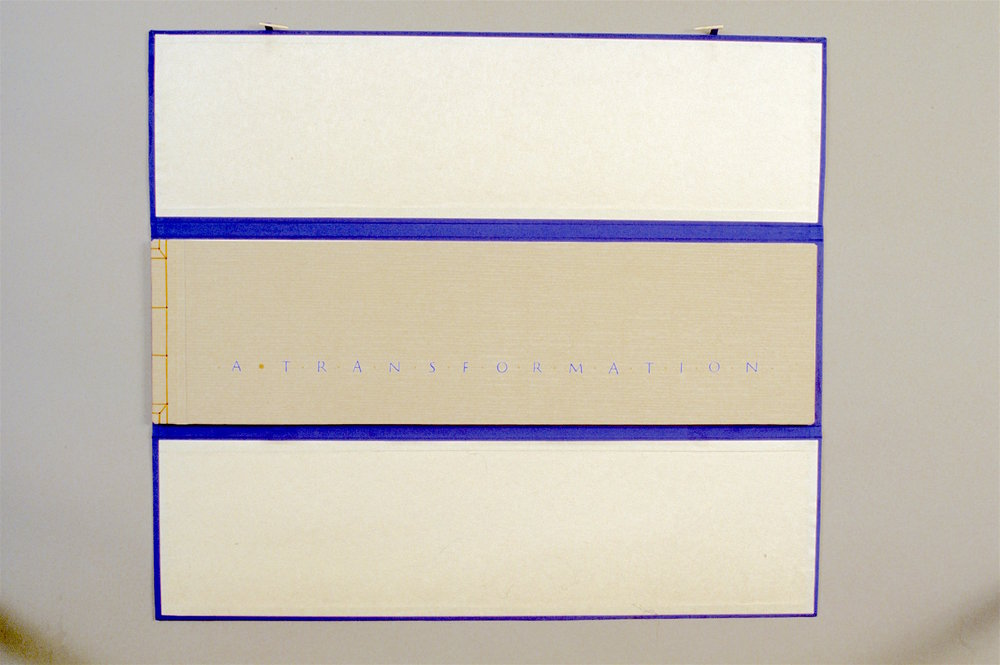 Simplicity - 1988. Artist Book with case: book cloth & board, paper, gouache, 24 carat gold6.33 x 22.25 x .75 inches