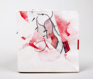 Artist Book: papers, gouache, wax crayon, tape, & ink. 6.5 x 6.5 x .25 inches
