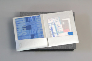 "one of the artist books with remains from ""cutting"" process"