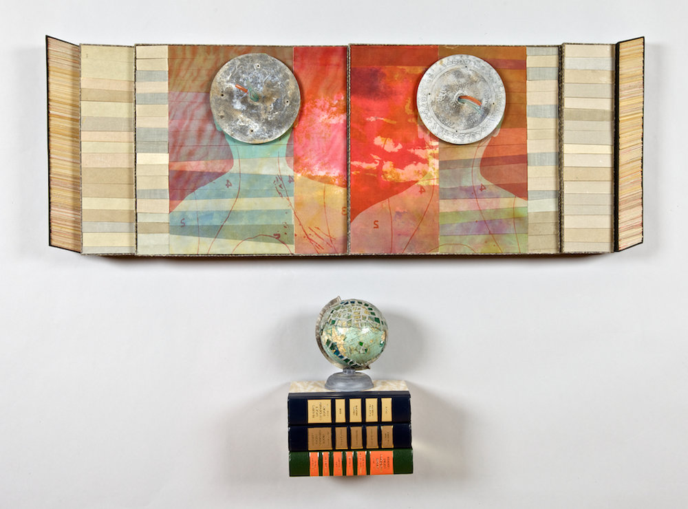 A(round) - 2010.Mixed Media Construction: book cloth& board, silk-screened organza silk,paper prints, found objects, brokenglass, readers' digests.39 x 29 x 6.5 inches .