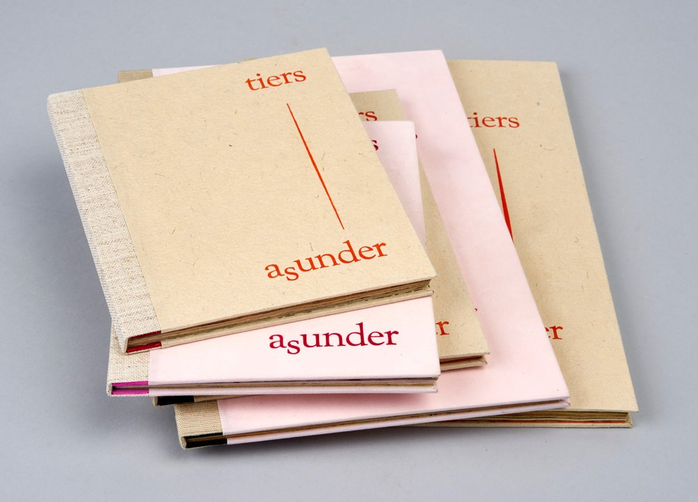 Tiers Asunder_1 - 5  - 2017.Five Artist Books: intaglio and letterpress prints on acid stained kitikata paper, book board & cloth, miscellaneous papers._1 & 2 - 6.25 x 10.5 x .25 inches,_3 - 5.33 x 7 x .25 inches      _4 & 5 - 5 x 6.33 x .25 inches