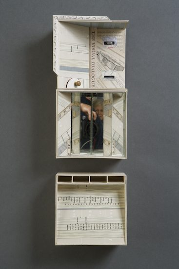 S(TILL) LIFE - 2009.Mixed Media Box Construction: book board & cloth, book covers, spine & pages, mirrors, found objects, maps.8 x 24 x 4 inches..