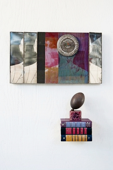 d(rip) - 2009.Mixed Media Construction: bookboard, cloth, & covers, silk-screened& dyed organza silk, mirrors, foundobjects, readers' digest books, glass,emu egg.24 x 29 x 5.5 inches.