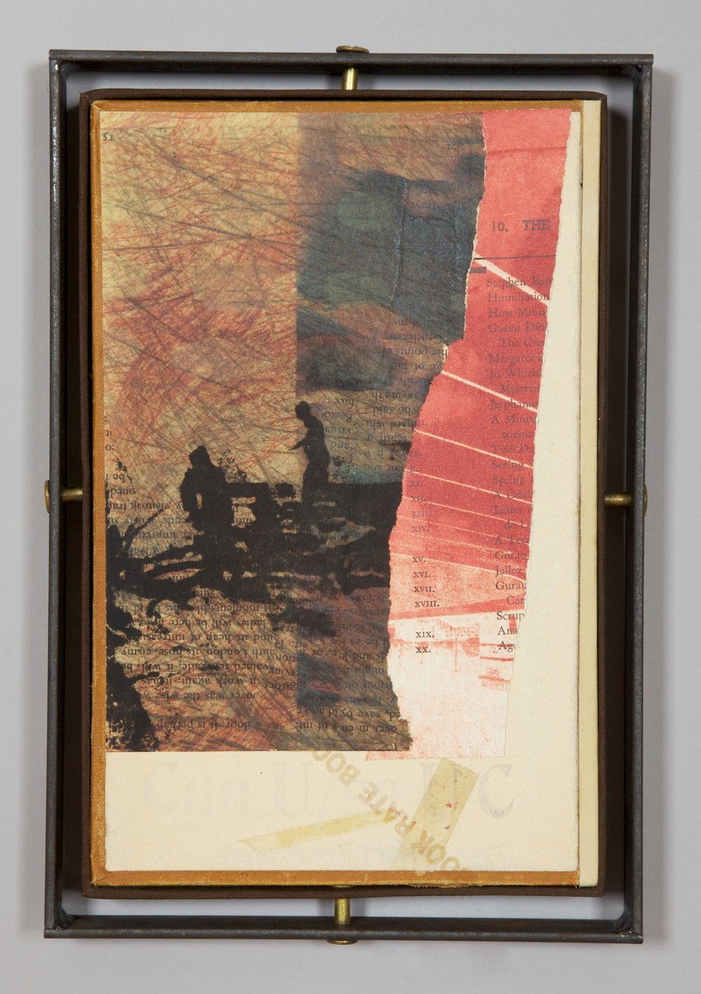 POWERS THAT BE - 2011.Five Mixed Media Constructions: bookcover, cloth & pages, digital &letterpress prints, graphite, scotchtape, Chicago screws & posts,rusty iron frames.Ea: 7 x 10.33 x 1 inches.