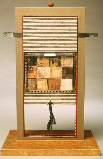 Mind The Gap - 1999.Mixed Media Clamshell Box Construction: book board, book cloth, paper, ink, gouache, found objects6.87 x 14.25 x 1 inches