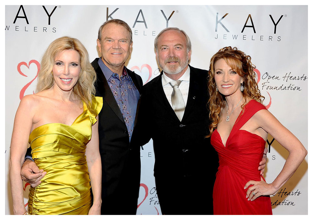 Kim Campbell, with her husband and 2012 Open Hearts Award recipient, Glen Campbell and Open Hearts Foundation founders James Keach and Jane Seymour