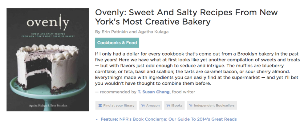 Ovenly Cookbook--Top Book of 2014 - On NPRPhoto of Ovenly Cookbook cover
