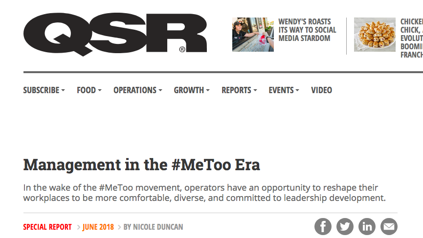 Erin on management - On QSRPhoto of QSR homepage