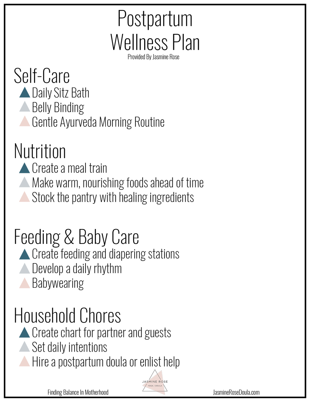 Postpartum Wellness Plan