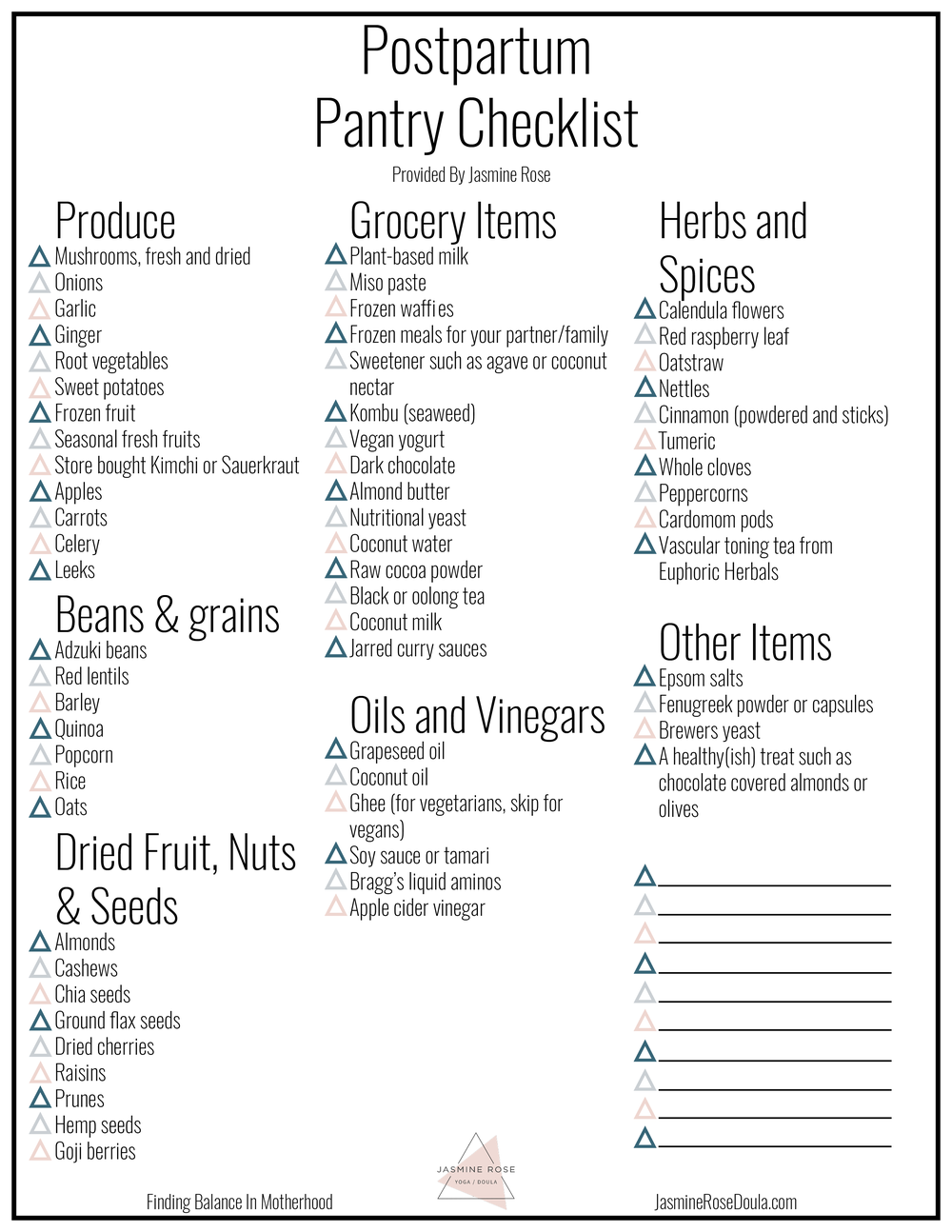 Click here for the PDF of the Postpartum Pantry Checklist.