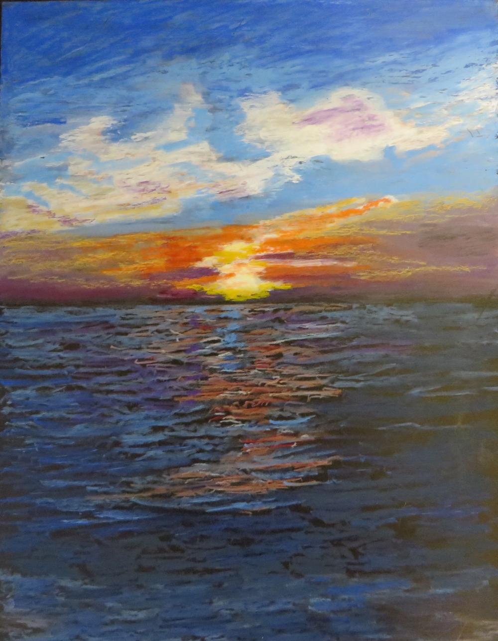 Sunset over Lake Erie; acrylic & oil pastel on artist board, copyright 2017