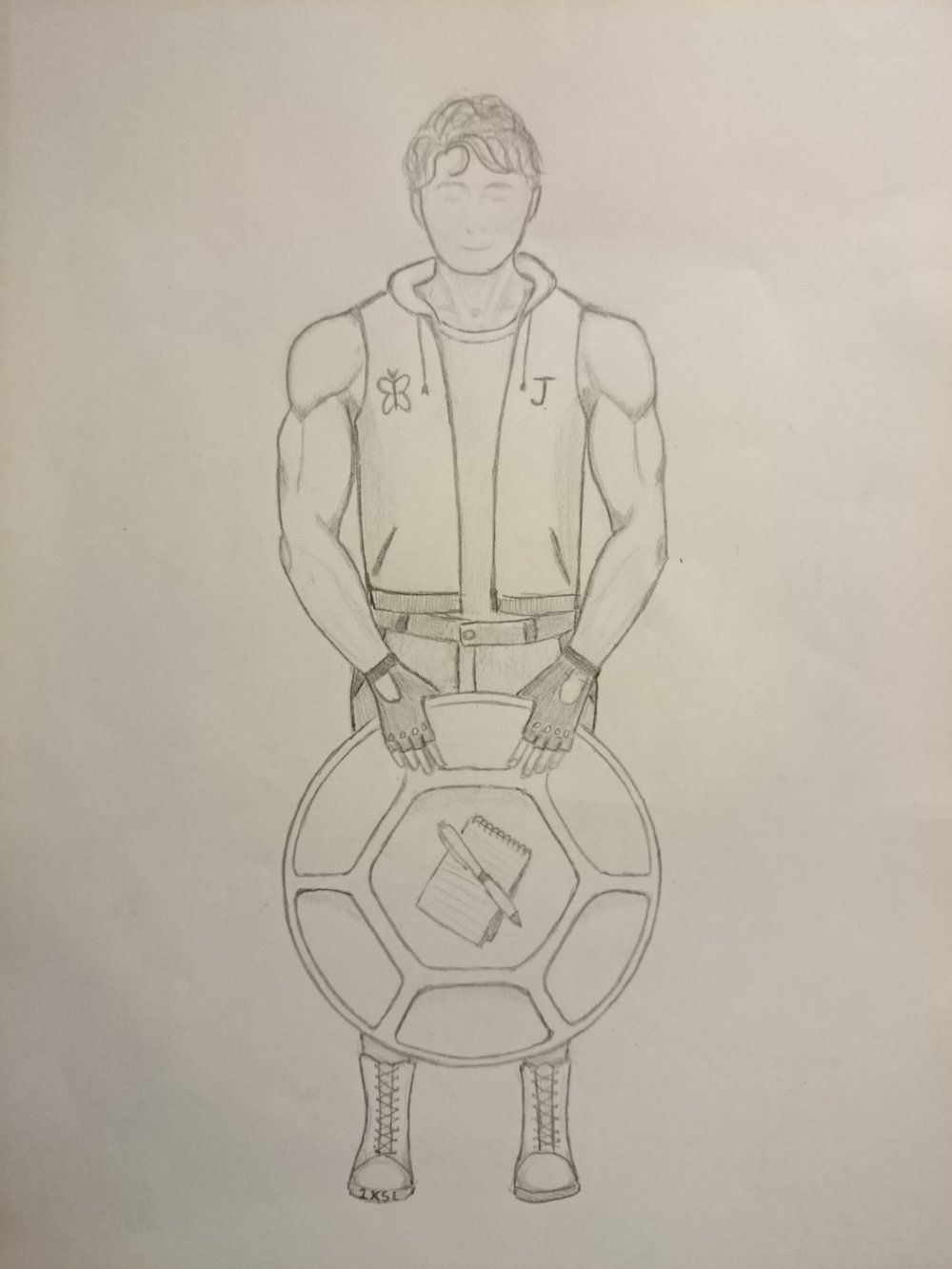 A full-body portrait by the wonderful teen artist LM, who depicts me in superhero gear: a sleeveless vest-style hoodie with a butterfly on one side and the initial J on the other; buff arms that I partially have and partially aspire to; workout-style gloves, loosely holding a turtle shell-patterned shield with a notebook and pen as the crest; and badass laced boots.