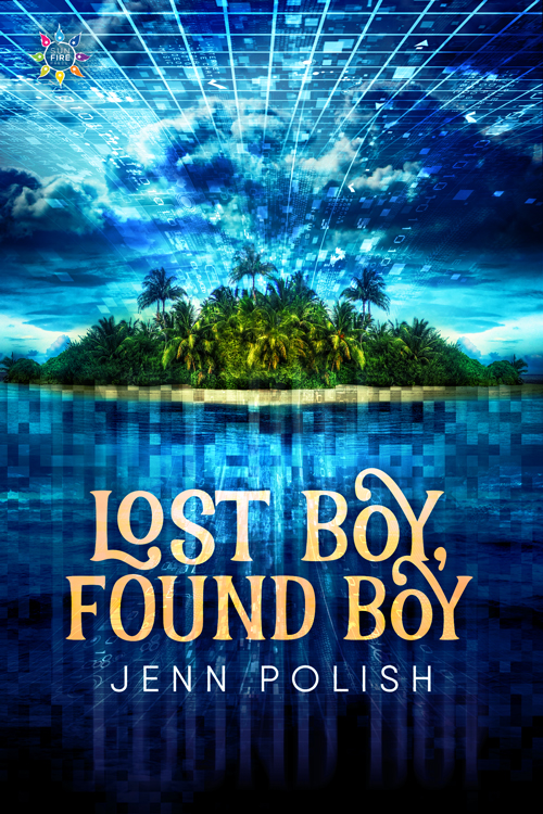 Lost Boy, Found Boy cover: a pixelated ocean with a green island in the background; a matrix projects through the cloudy sky.
