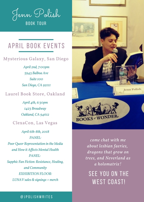 My April book tour events! San Diego (Mysterious Galaxy Books, April 2nd at 7:00pm) -- Oakland (Laurel Book Store, April 4th, 6:30pm) -- Las Vegas (Clexa Con, April 6th-8th).