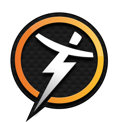 Trainerize logo; a black and golden circle with an animated person sort of shaped like a lightning bolt (kinda cool tbh).