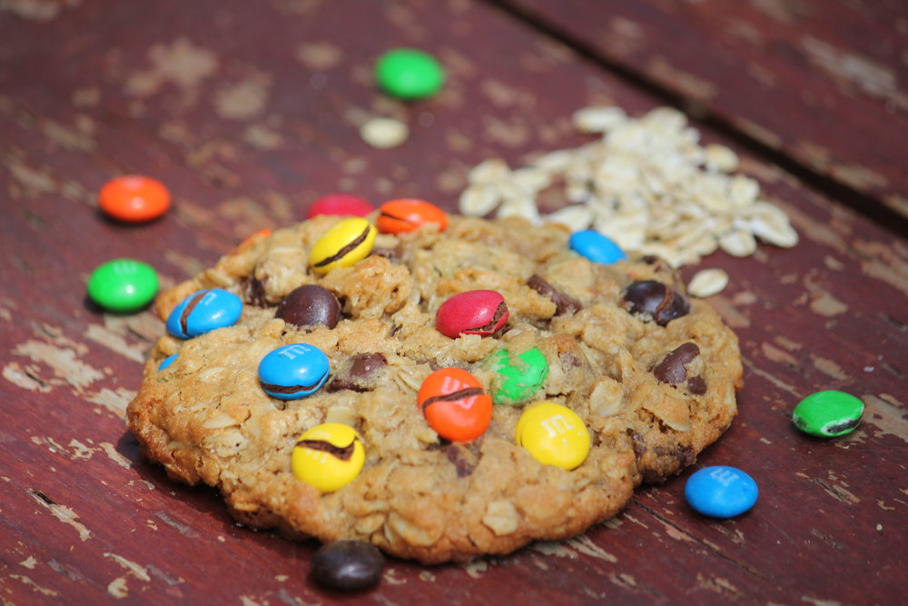 Monster Cookies - Warning: Not for the faint of heart. These are not just cookies, this incredible peanut butter cookie is loaded with M&Ms, chocolate chips, and savory oats that just may leave you dumbfounded that monsters can actually taste good!
