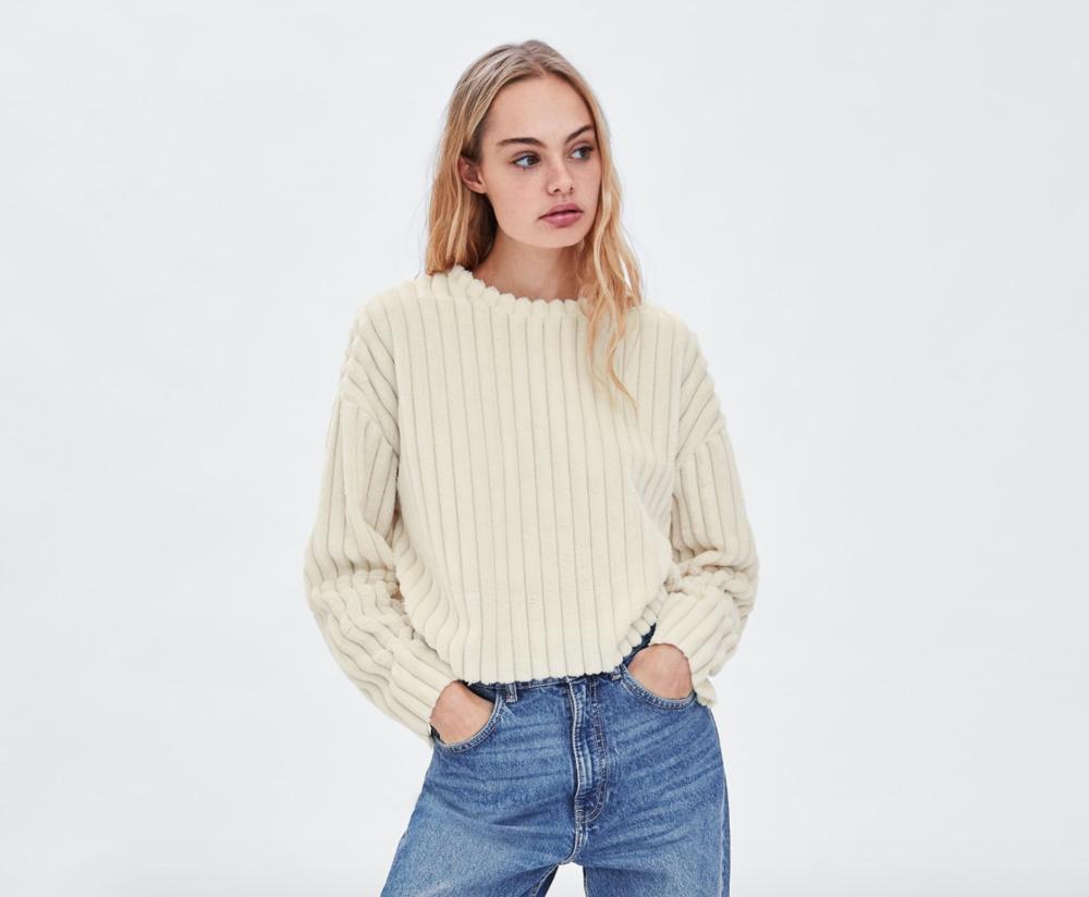 Zara Fur Cream Sweater
