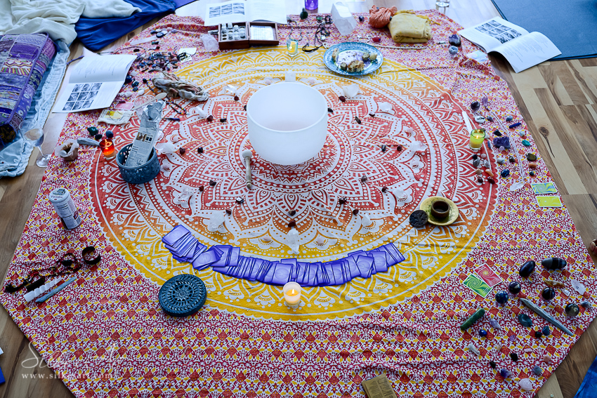 Crystal Grid with singing bowl
