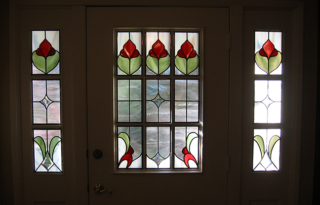 Front door glass design flowers