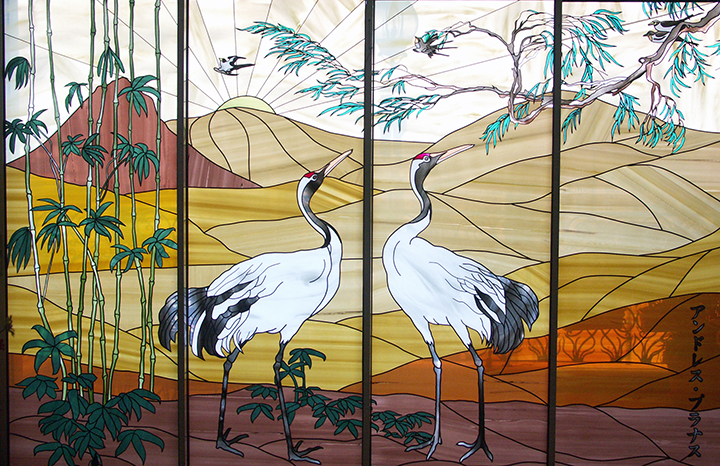 Stained glass art film asian theme birds landscape