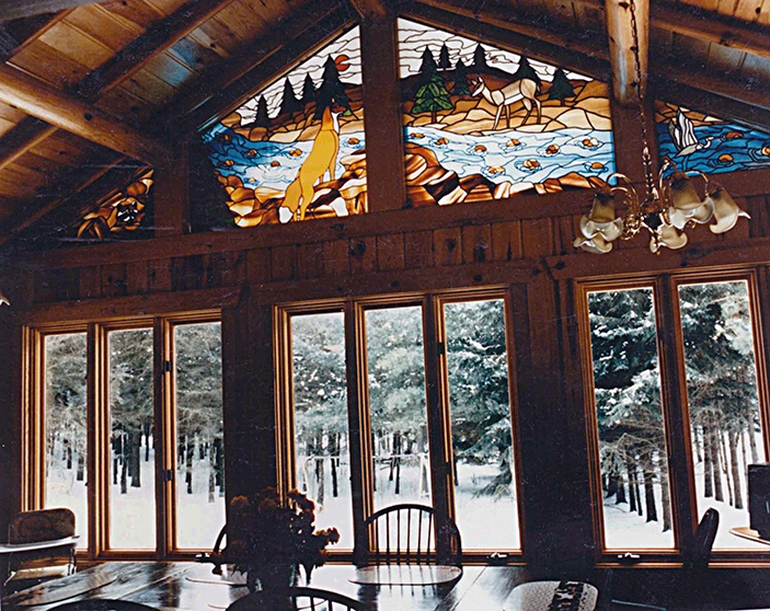 Stained glass art film ski lodge