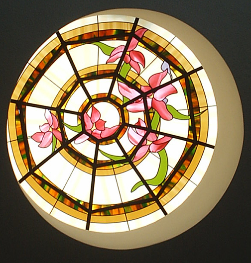 Round ceiling stained glass art film