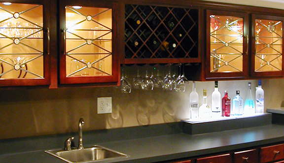 Glass cabinet design home bar