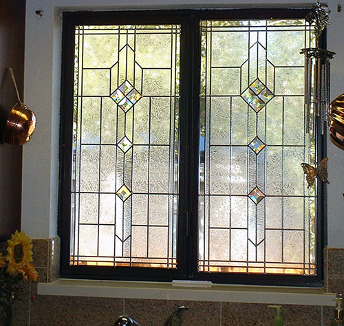 Kitchen window glass bevels