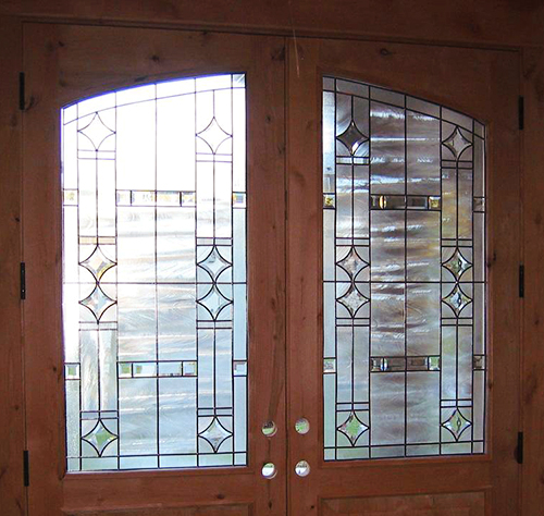 Front door glass design bevels