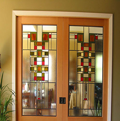 Stained glass art film interior door prairie inspired