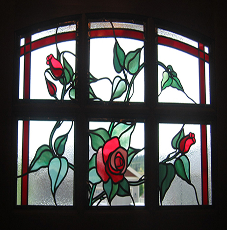 Stained glass art film rose window