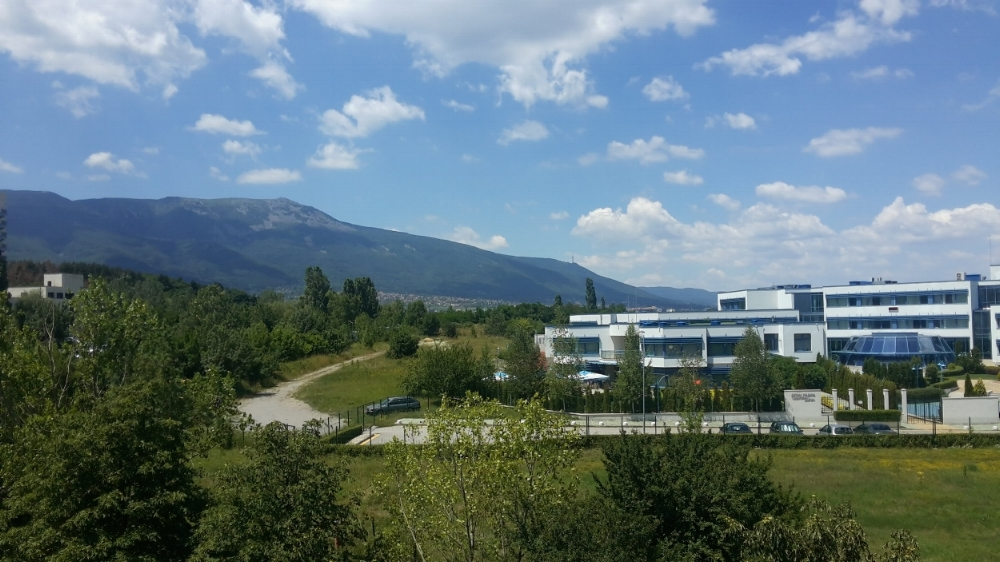 The view from the Snapshot Games Office, with Mount Vitosha in the distance.