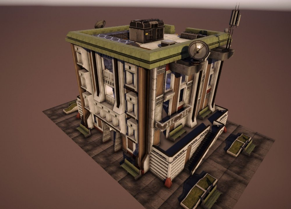 A modelled and textured residential building complete with props