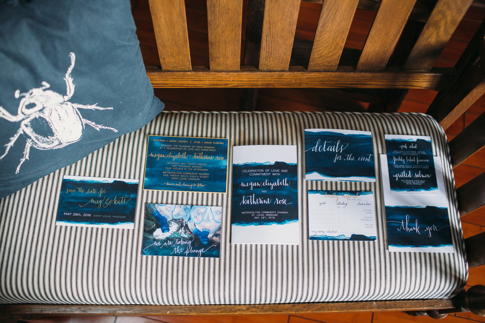 """Taking the Plunge"" wedding suite   Navy and indigo watercolor design with gold foil stamped lettering.    Photography by J.Elizabeth Photography"