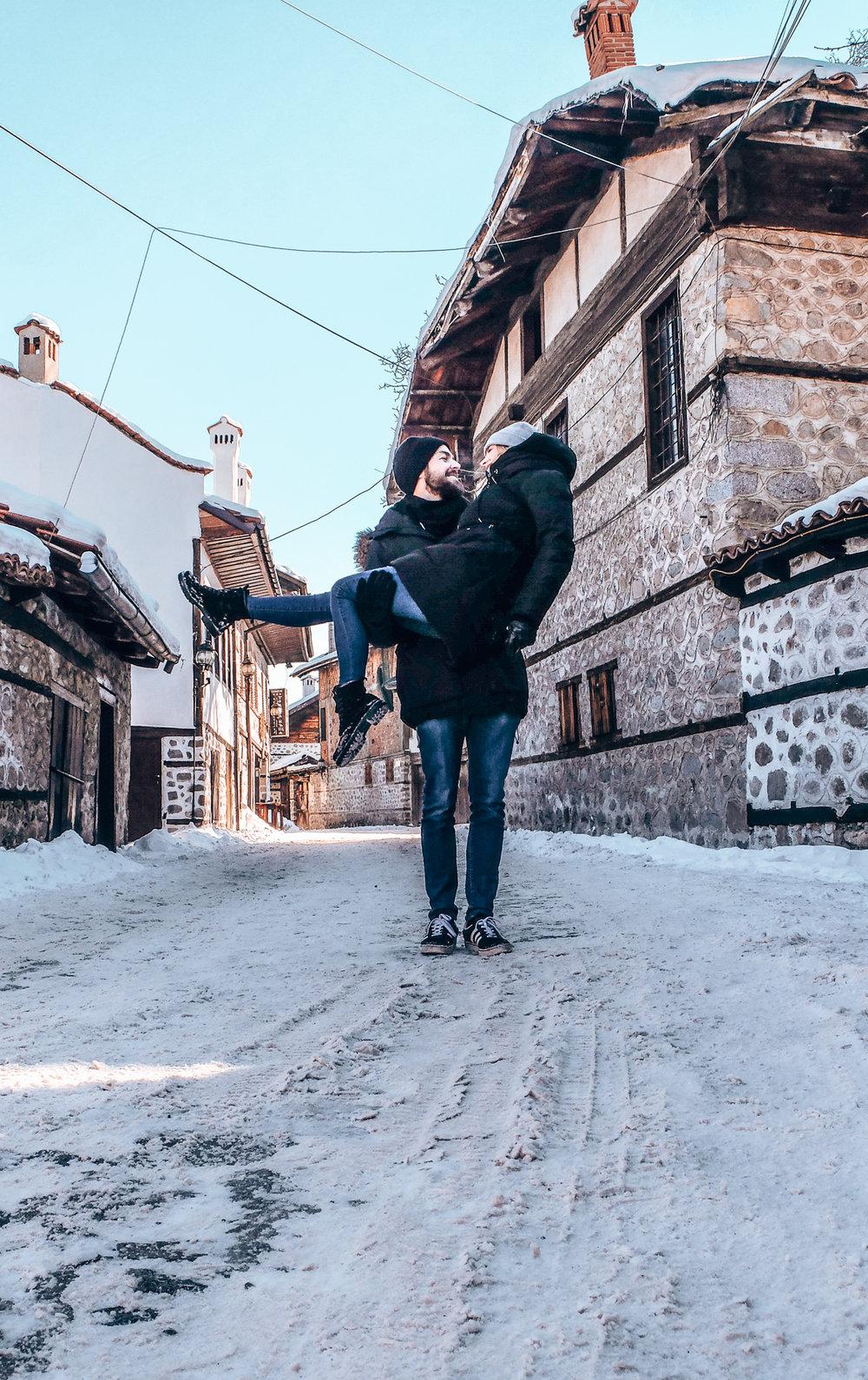 Bansko - couple in oldtown